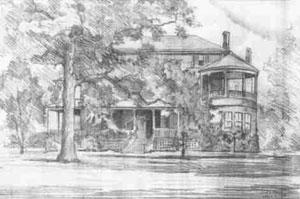 Drawing of mansion by F.S.Dixon
